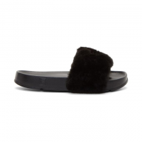 Шлепанцы Baja East x Fila Women's Faux Fur Pool Slide Sandals Black