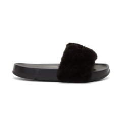 Шлепанцы Baja East x Fila Women's Faux Fur Pool Slide Sandals Black
